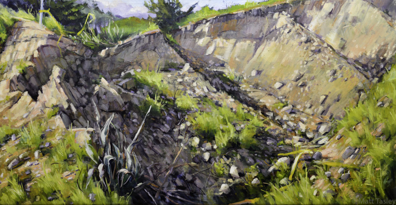 """Larkspur Landing Rock Slide"", Oil on canvas, 40""x 60"""
