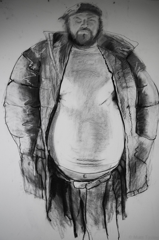 """Fat Man"", Charcoal on paper, 84"" x 60"""