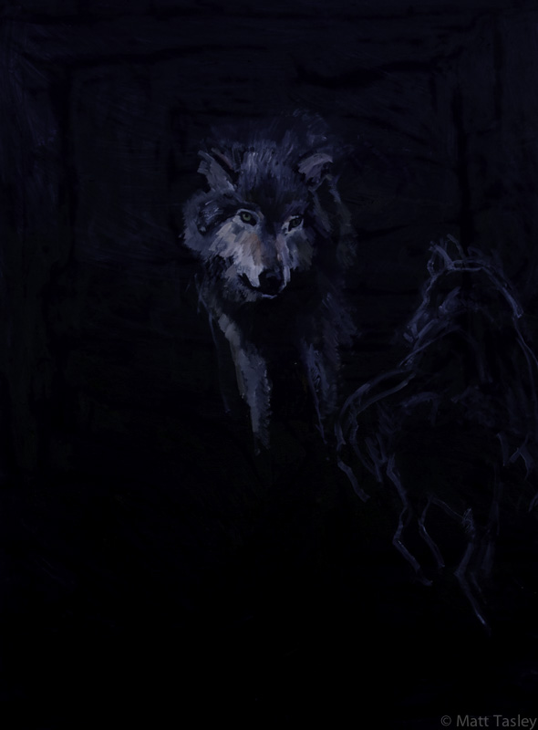 """Wolves"", Oil on canvas, 84""x 60"""