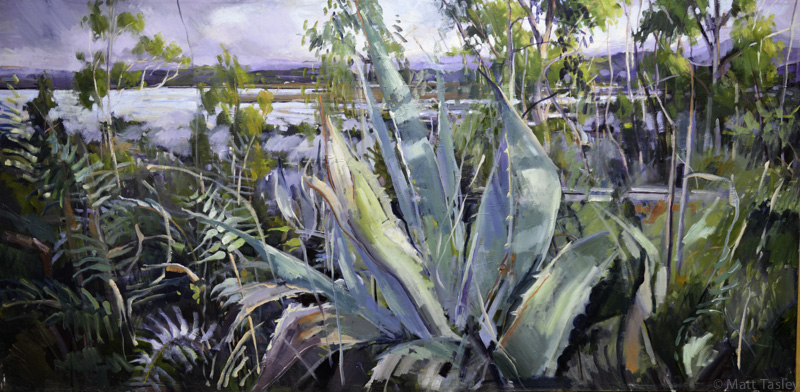 %22Larkspur Landing Aguave%22, oil on canvas, 35%22x 58.jpg