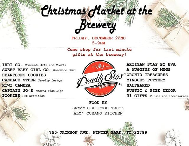 Repost from @deadlysinsbrewing . Come join us tomorrow for our Christmas Market! Starts at 5pm, see you there!  @MinguezPottery will be there! 🏺🏺🏺🏺🏺🏺🏺🏺🏺🏺🏺