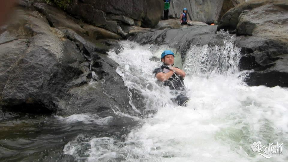Body rafting through rapids
