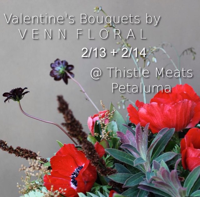 Grab your loves something they'll really enjoy- magic meat creations from @thistlemeats and a stunning bouquet. Add some fancy chocolate and you're bringing the trifecta of Valentine's perfecta. Yea- we made that up. #VennForMyValentine #floraldesign #truelove #perfectgift #vennfloral
