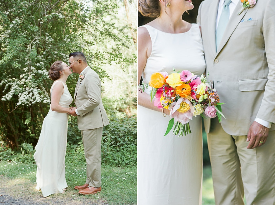 Colorful, Spring wedding flowers at Dawn Ranch in Guerneville, California. Floral Design: Venn Floral | Photography: Krista Marie Photography.
