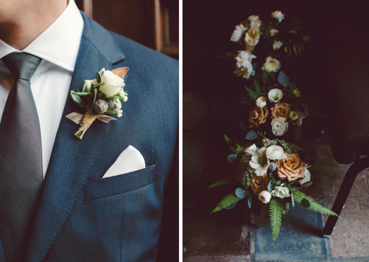 Elegant boutonniere and spring bridal bouquets by Venn Floral, photographed by Lilly Red at the Golden Gate Club in San Francisco.