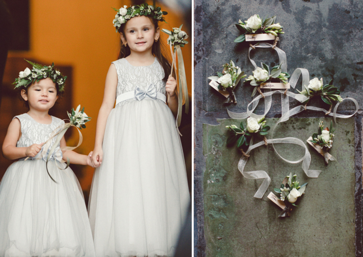 Flower girl crowns and simple wrist corsages Venn Floral, photo by Lilly Red.