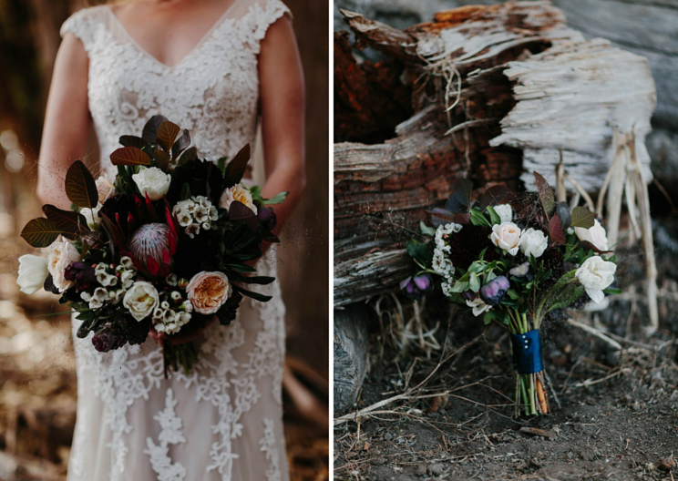 Bridal bouquet with King Protea, Hellebores, David Austin Garden Roses by Venn Floral at Straus Home Ranch, photo by Levi Tijerina.