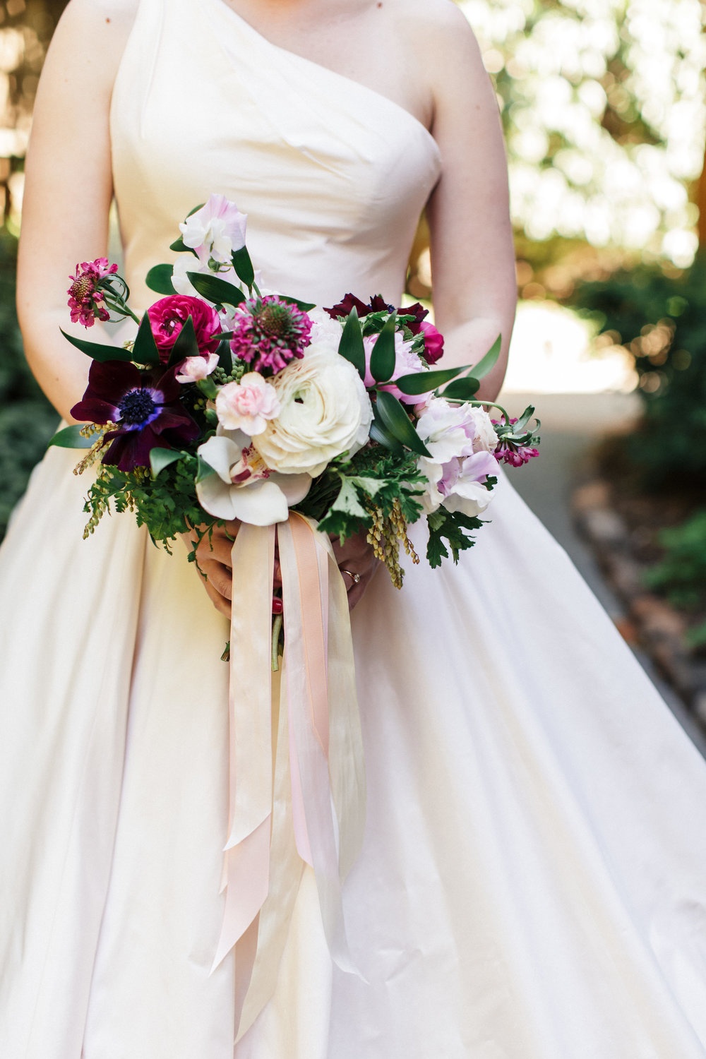 White, green, and pink bridal bouquet by Venn Floral at The Outdoor Art Club in Mill Valley, California with Torrey Fox Photography, Sage Catering, and Oh Splendid Day.