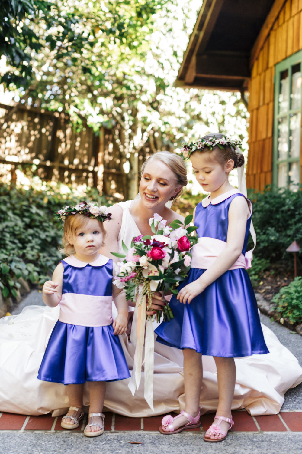 Simple flower girl crowns by Venn Floral  at The Outdoor Art Club in Mill Valley, California with Torrey Fox Photography, Sage Catering, and Oh Splendid Day.