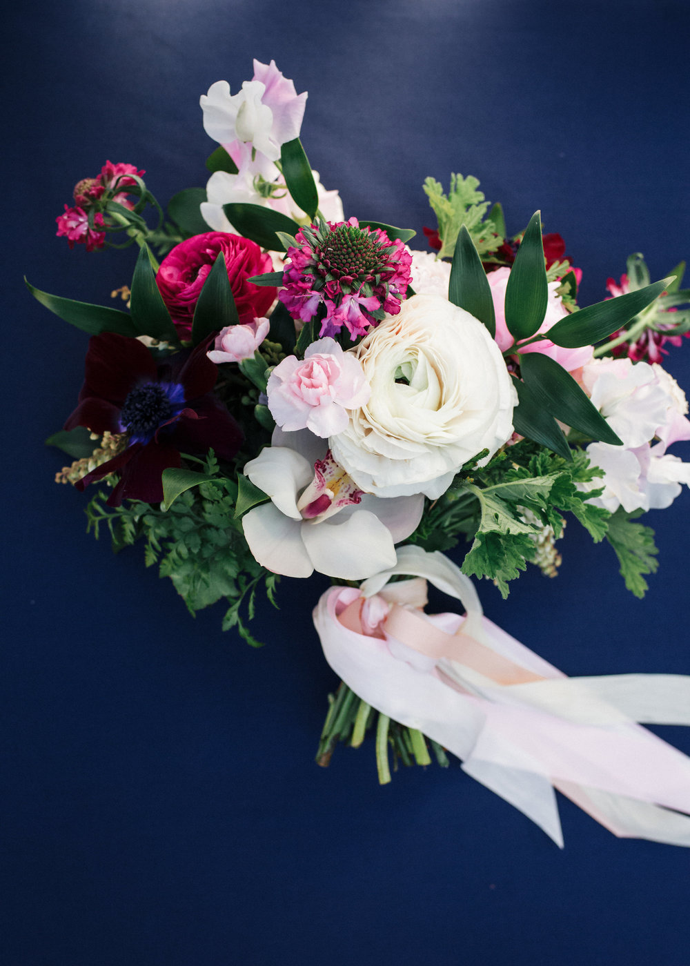 Pink, white and plum bridal bouquet by Venn Floral  at The Outdoor Art Club in Mill Valley, California with Torrey Fox Photography, Sage Catering, and Oh Splendid Day.