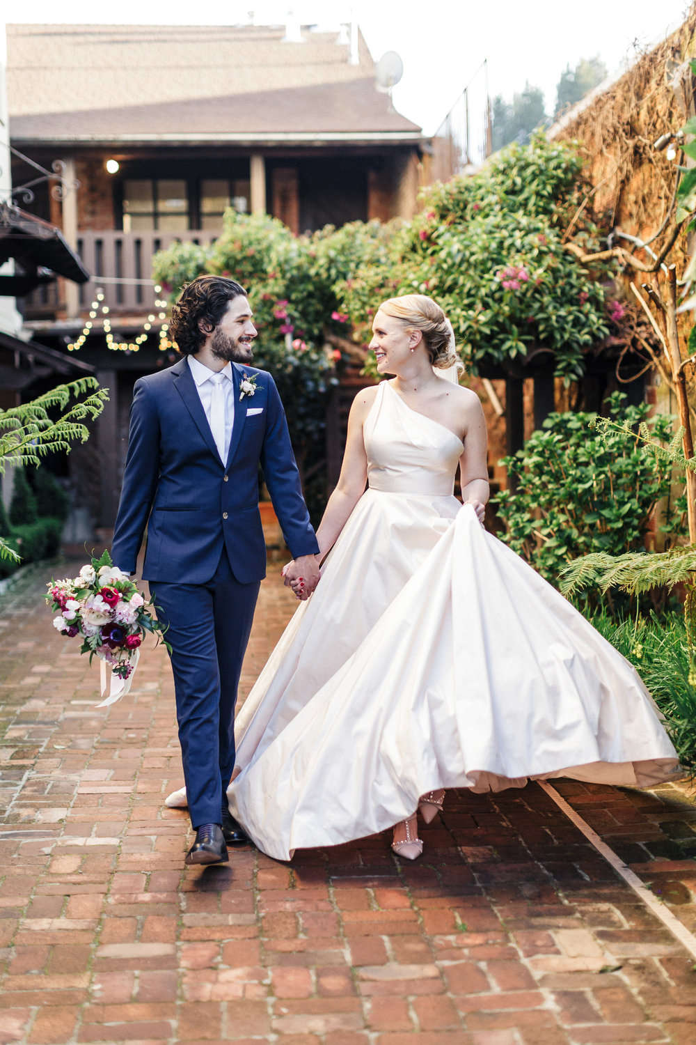 Elegant garden wedding at The Outdoor Art Club in Mill Valley, California with Torrey Fox Photography, Venn Floral, Sage Catering, and Oh Splendid Day.
