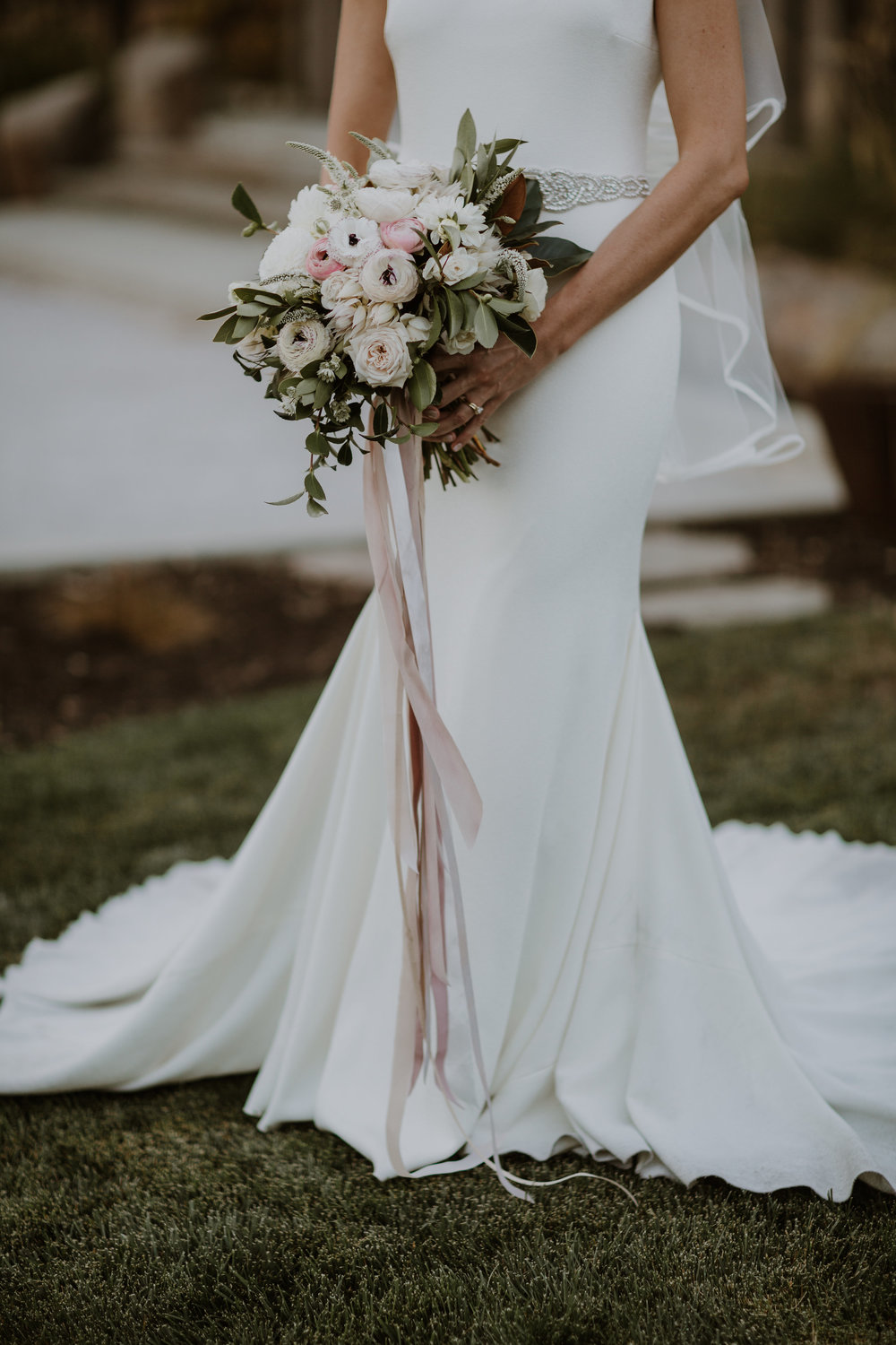 Romantic bridal bouquet with trailing silk ribbons by Venn Floral, photographed by Gretchen Gause Photography.