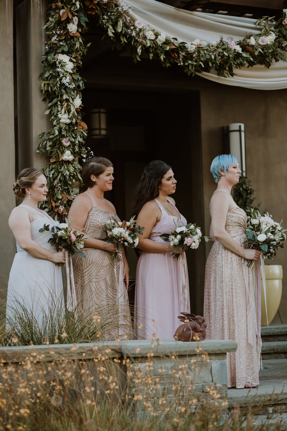 Full floral garland ceremony and romantic bridal flowers by Venn Floral, photographed by Gretchen Gause Photography.