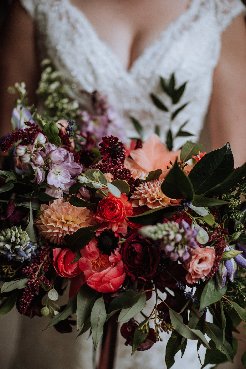 Colorful and natural bridal bouquet by Venn Floral in Healdsburg, California photographed by Gretchen Gause at Villa Chanticleer.