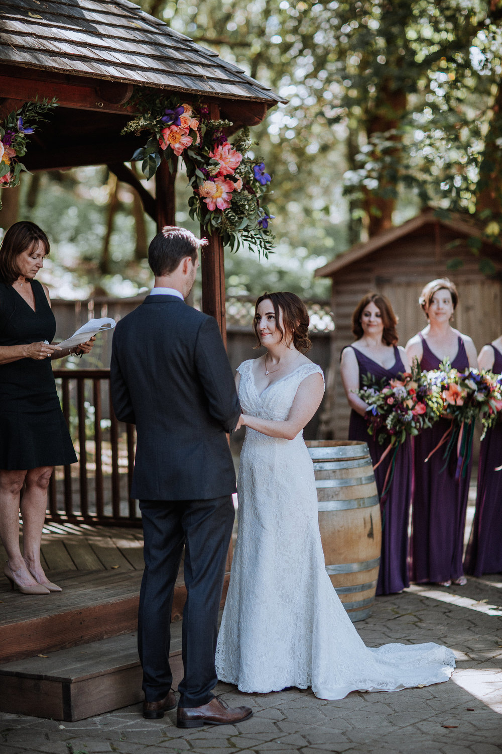 Colorful ceremony flowers by Venn Floral in Healdsburg, California photographed by Gretchen Gause at Villa Chanticleer.