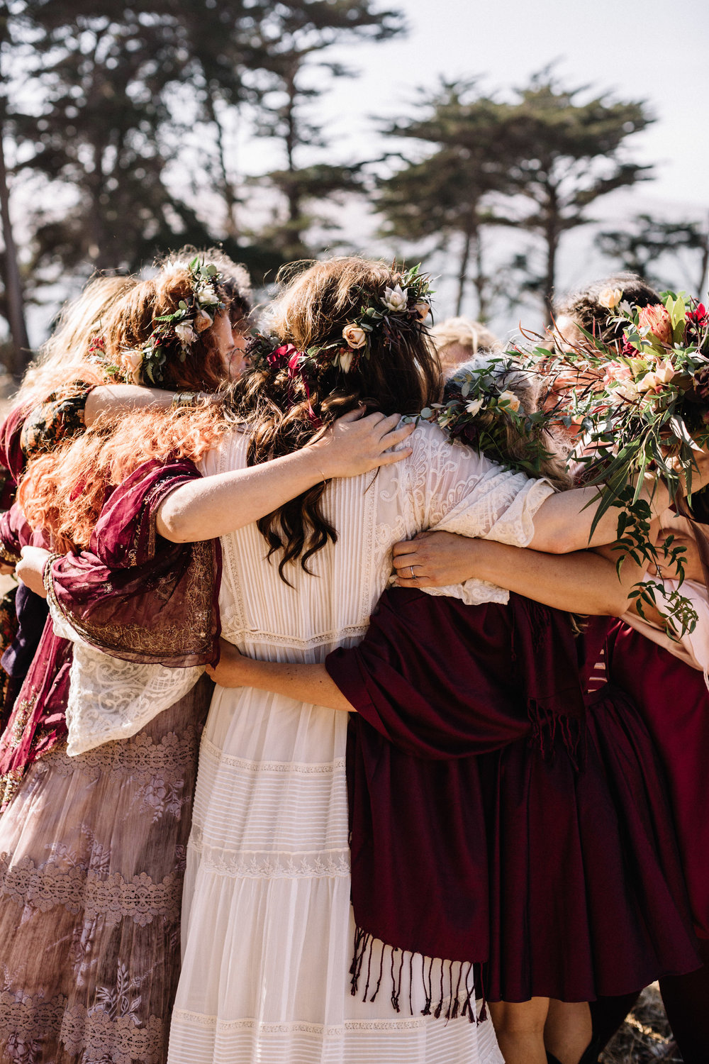 Photgraph by  Lucille Lawrence  at Straus Home Ranch of Erica and her ladies in waiting at her September wedding. More than ever, we're feeling the importance and power we have as women and our responsibility to support and stand up for each other. This one gives us all the feels. GIRL POWER.