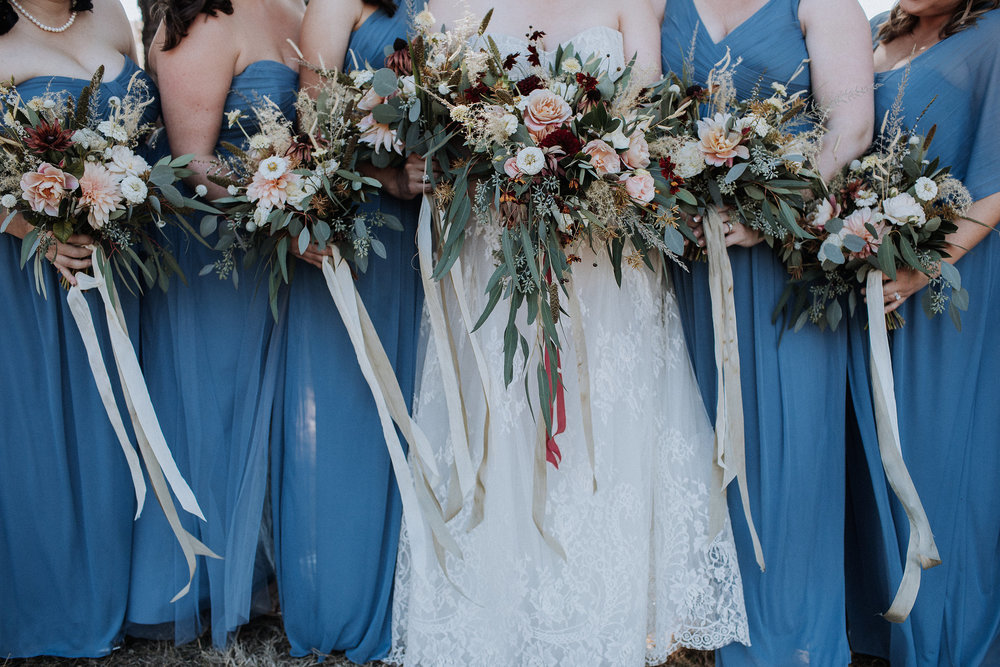 Wild harvest wedding bouquet by Venn Floral at Olympia's Valley Estate photographed by Gretchen Gause.
