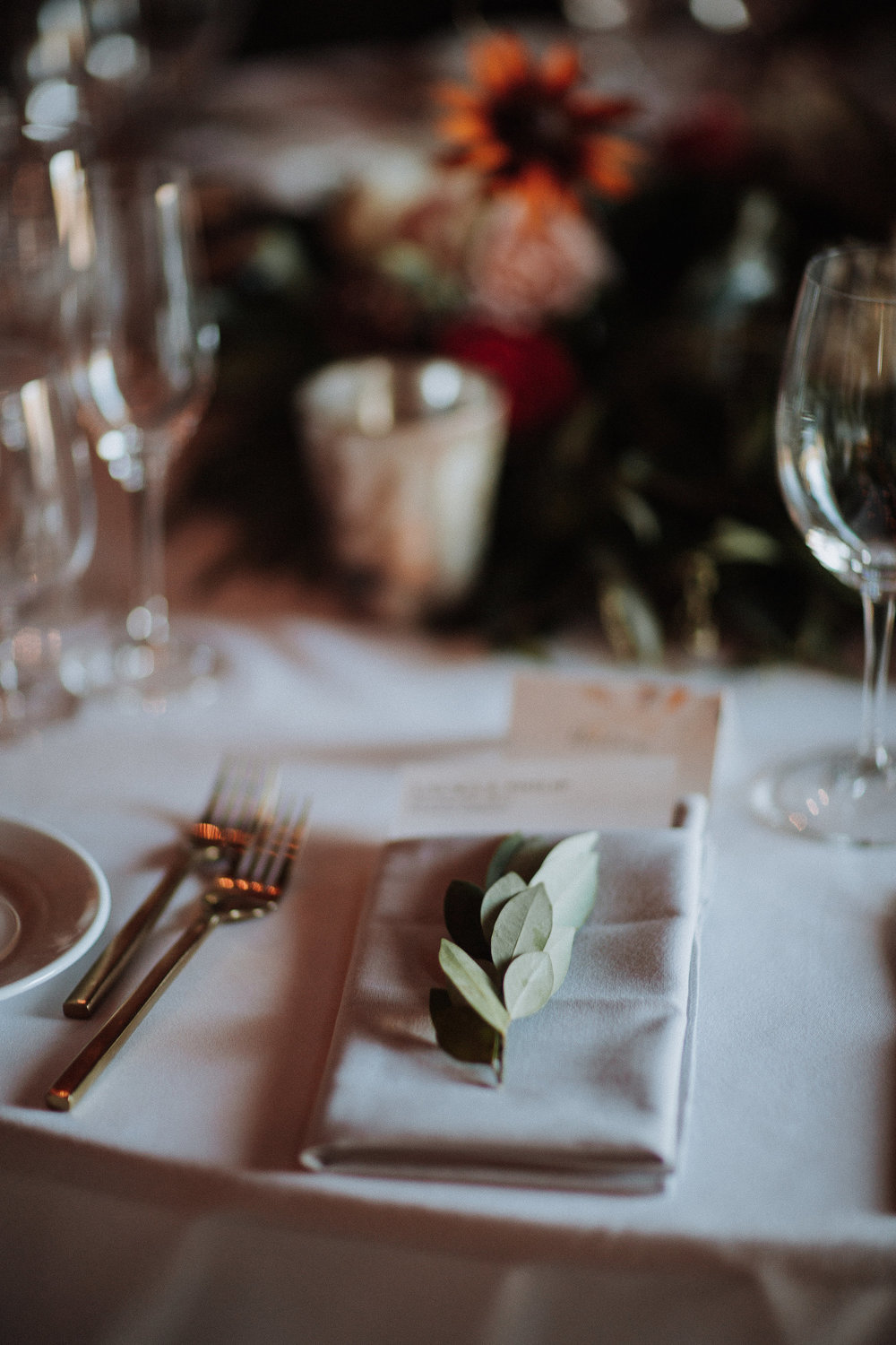 Greenery sprig napkin decor by Venn Floral photographed by Gretchen Gause at Olympia's Valley Estate.