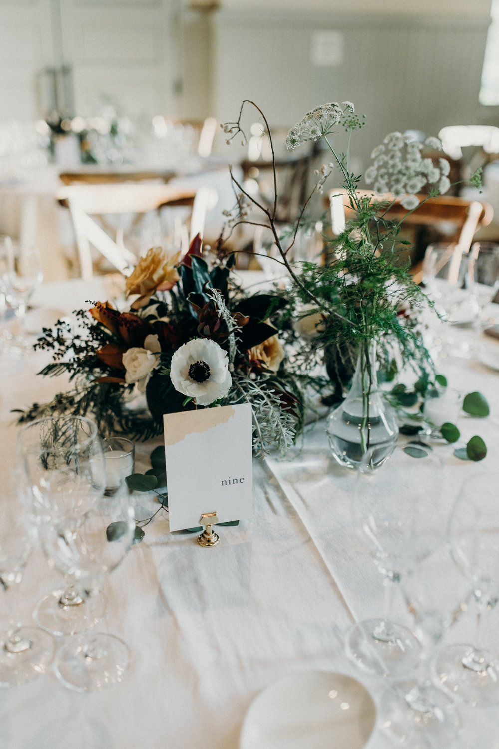 Organic centerpiece designs for round tables by Venn Floral at Cavallo Point photographed by Ryan Chard Smith.