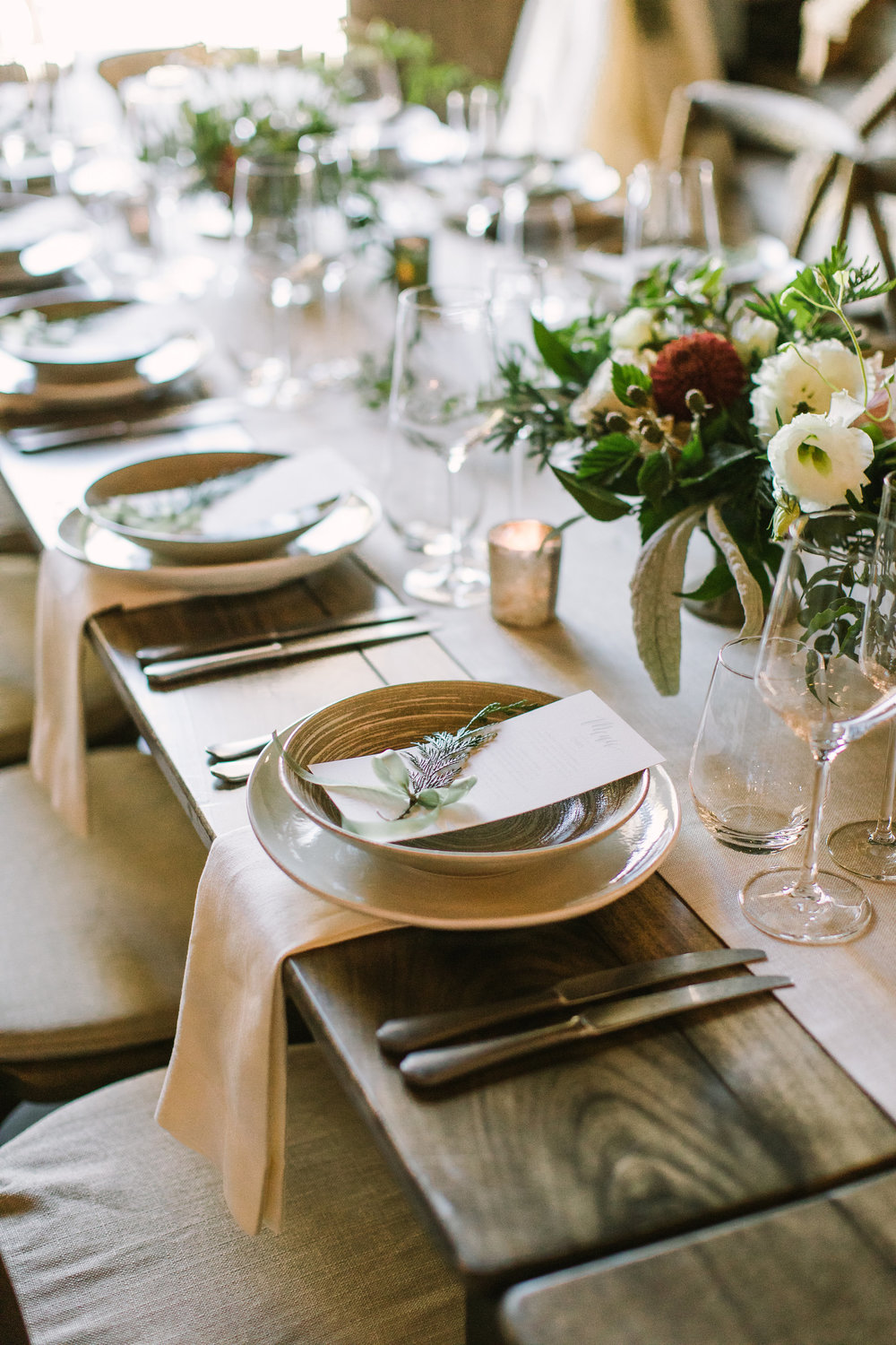 Greenery napkin sprigs for an elegant wedding by Venn Floral at Olympia's Valley Estate photographed by The Edges.
