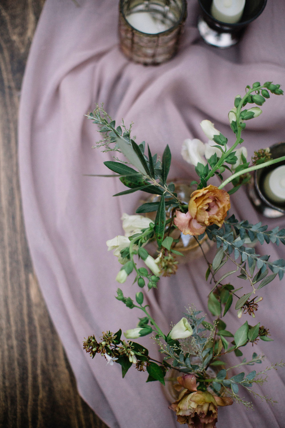 Garden inspired  wedding palette by Venn Floral with Foxglove, Olive branches and Distant Drum Roses photographed by Lucille Lawrence in Healdsburg, California