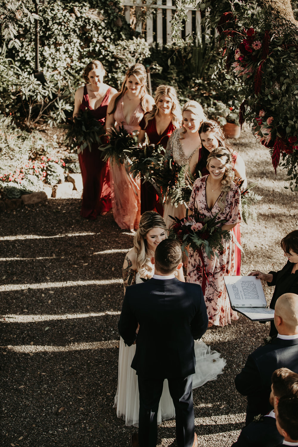 Nontraditional bridal bouquets and wedding party. Venn Floral with Vera Frances Photography at Beltane Ranch in Glen Ellen, California.