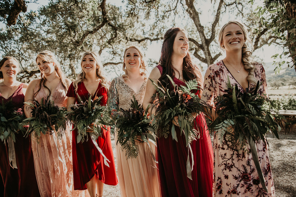 Greenery bridesmaid bouquets for a Boho California weding by Venn Floral , Whitney Nelson Events, and Vera Frances Photography.