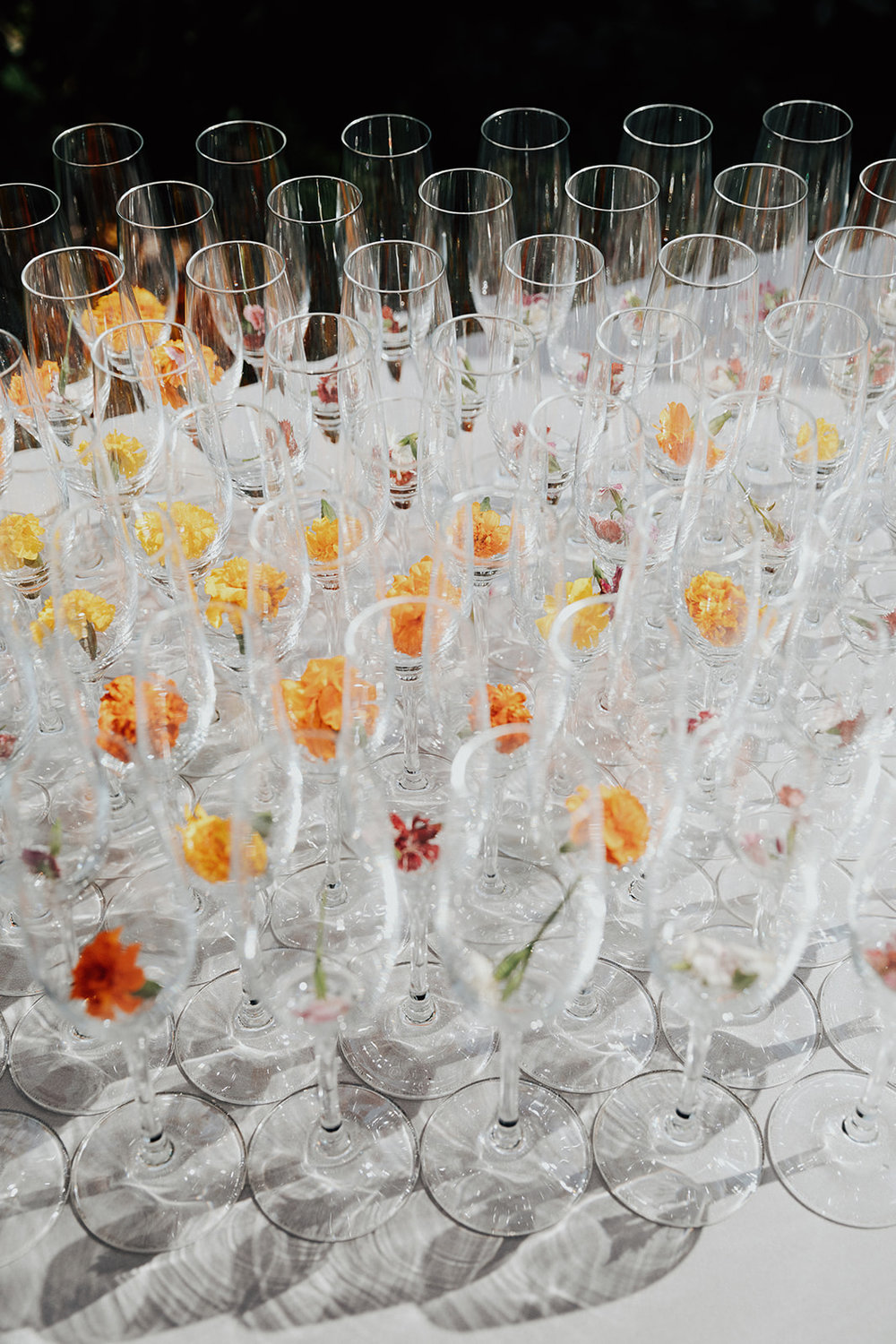 Colorful flower garnishes for welcome beverages. Healdsburg wedding flowers by Venn Floral at Ru's Farm photographed by Logan Cole.