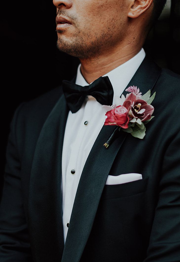 Classy, colorful groom's boutonniere by Venn Floral for a Healdsburg wedding at Ru's Farm photographed by Logan Cole.