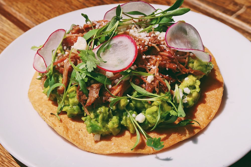 Pulled Pork Tostada - Barrel & Ashes, Los Angeles Photo by Joey Salmingo