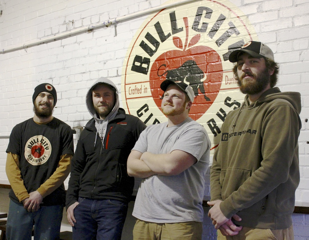 Ryan (second from left) and some of his cider-making team at Bull City