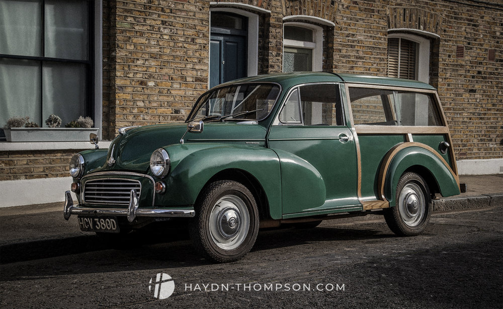Exterior automotive photo of a Morris Minor - Photography by Hay