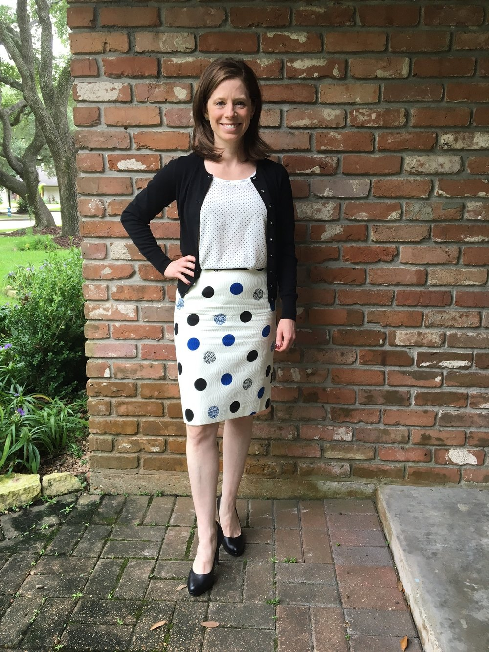 Polka dots with polka dots? Mind blown. Another combo I would not have put together, Also, cardigans are cute and professional; why am I not wearing them?!