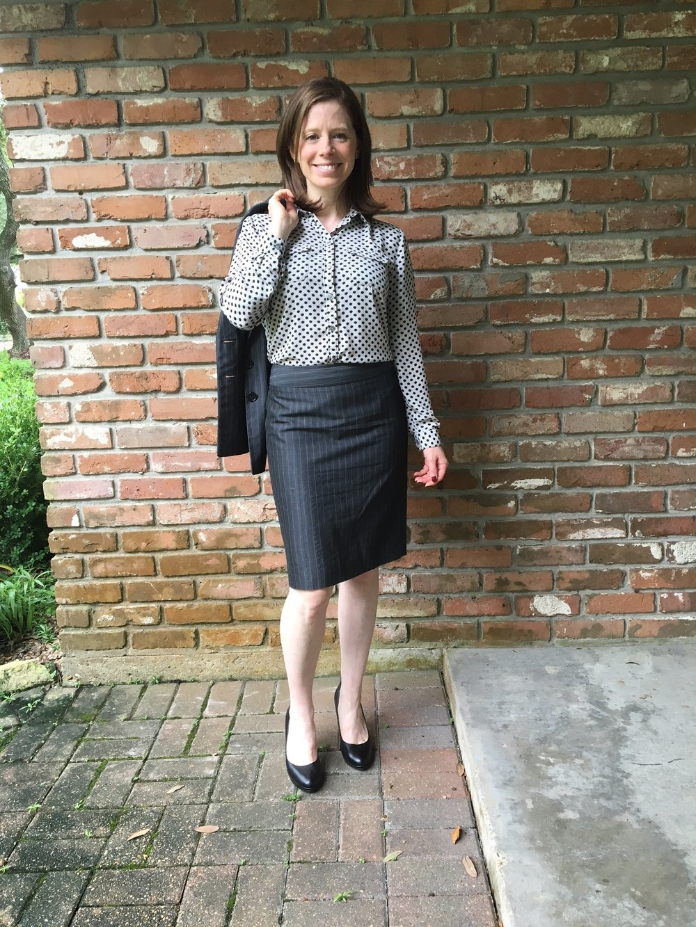 Polka dots with pinstripes? Now we're really getting crazy! I was not pairing this blouse with skirts; only pants. Another win for Emily.