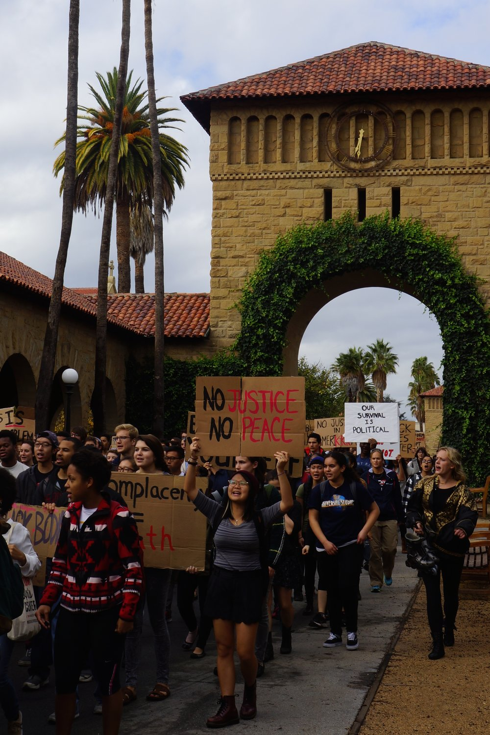 On Monday at 10:01 AM, hundreds of Stanford students and community members joined the national demonstration against the no-indictment decision for the police officer who shot and killed Michael Brown.