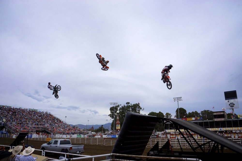 Cowboy Kenny's Steel Rodeo Tour visited the Salinas Rodeo this year, featuring multiple riders and airborne tricks.