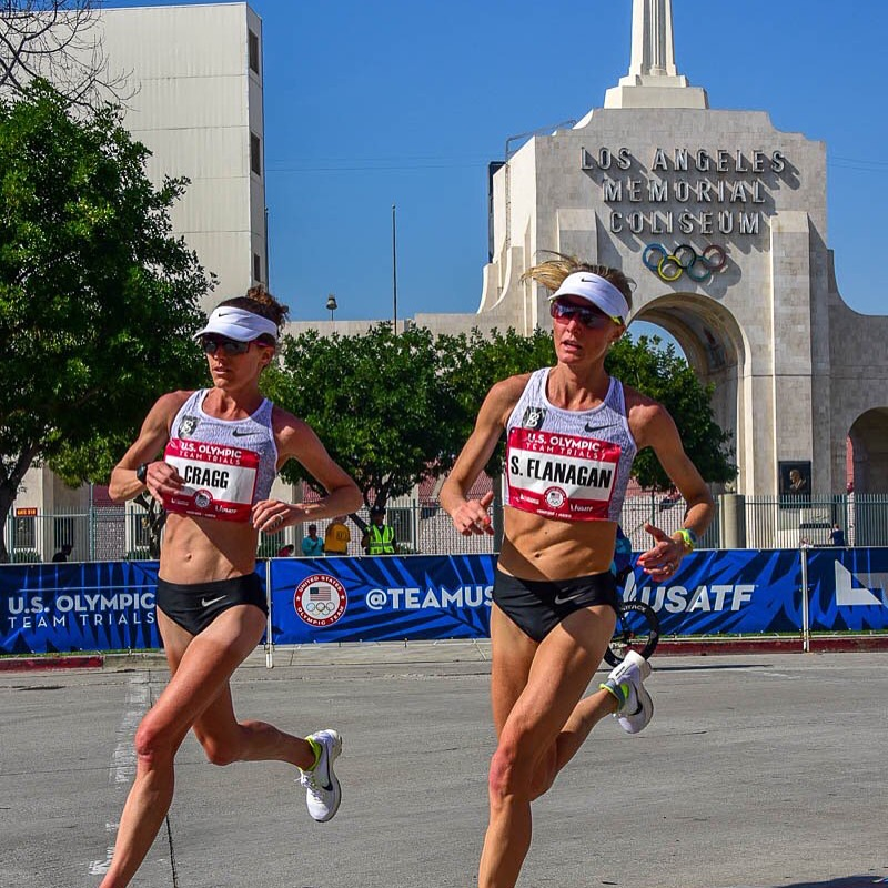 Amy Cragg and Shalane Flanagan on their way to making the 2016 Olympic Marathon Team. Photo by Michael Scott.