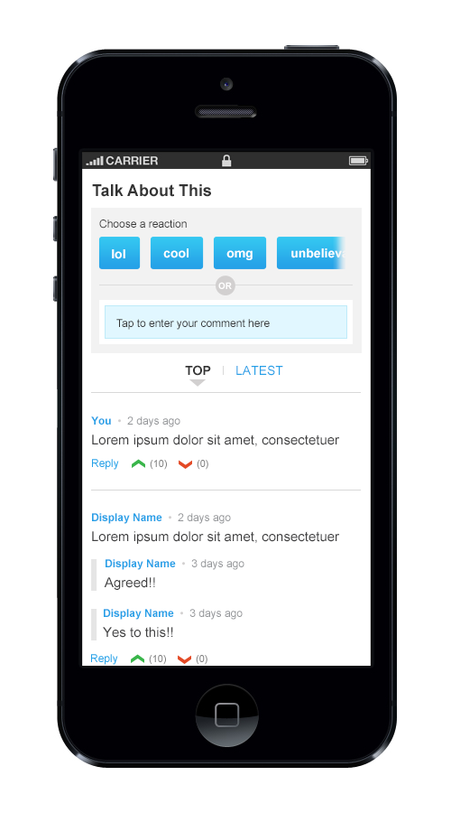 Mobile view of comments widget