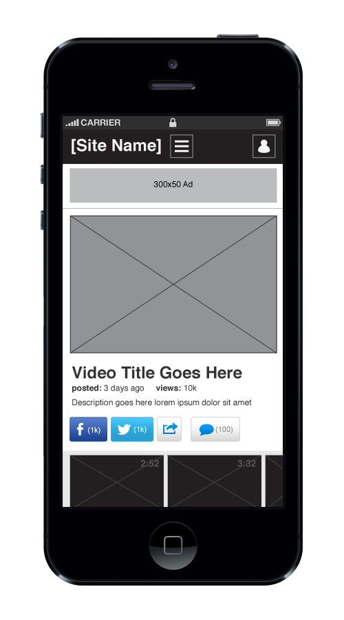 Mobile view of share widget