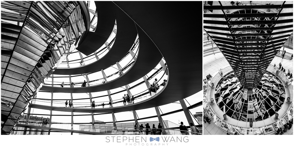 At the top of the Reichstag building in Berlin, a glass dome allows great views of the surrounding area.  A mirrored pillar in the center of the dome directs light downwards into the parliament floor below, while a rotating shield blocks harsh, direct sunlight.  Science!