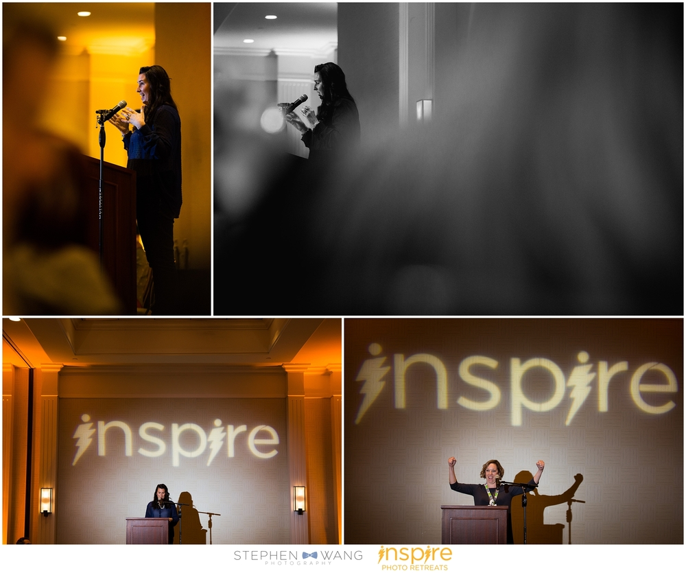 Stephanie Frazier Grimm giving her inspirational keynote speech, and Enna Grazier flexing those inspire guns :)