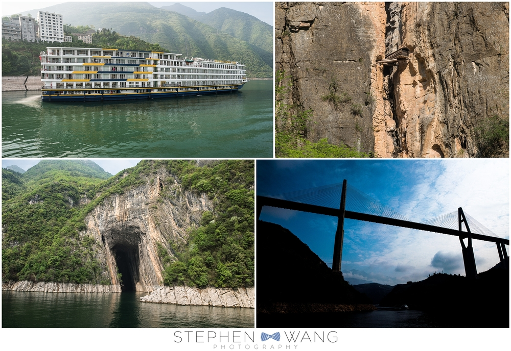 "We took a smaller boat up the Shennong Stream, through some of the ""lesser gorges.""  Cliffs, caves, and hanging coffins!"