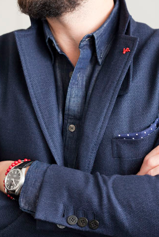 Isaia lapel pin, included with the jacket's purchase    (Courtesy of Isaia)