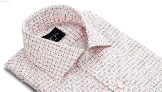 Red Windowpane Spread Collar Slim Shirt    (Courtesy of Ledbury)