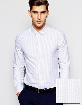 For those with a pension toward the subtle this grey striped shirt is ideal    (Courtesy of ASOS)
