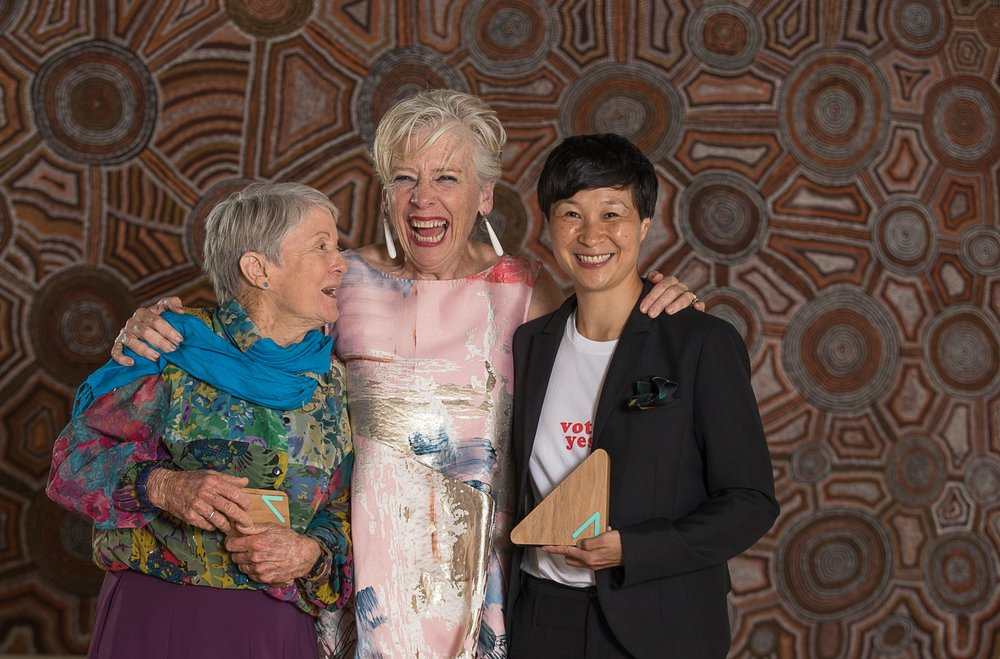 Rosemary Morrow, Winner of the Agriculture Award; Maggie Beer, an Awards judge; and Jackie Yun, winner of the Food Award.