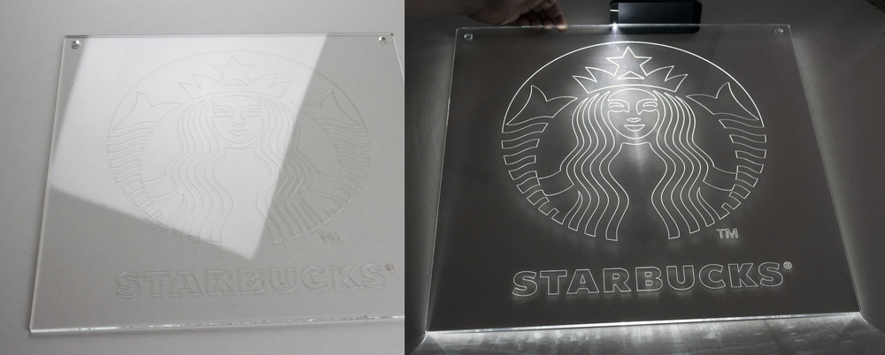This Starbucks sign was laser cut out of 1/4 in clear acrylic. The logo was engraved from the back. LED lights bring the logo on when installed from any side of the sign.
