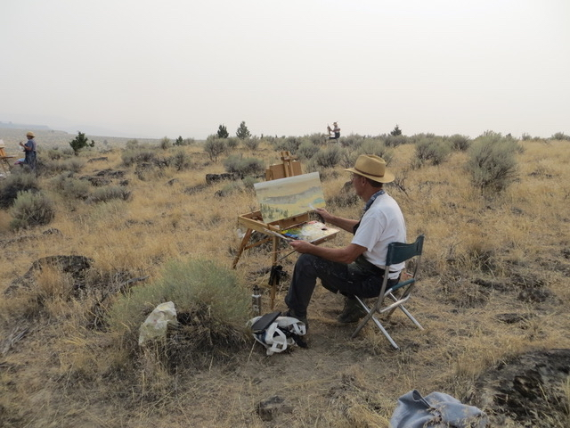 Students and me painting on the Diamond Grade on a smoky day in August.