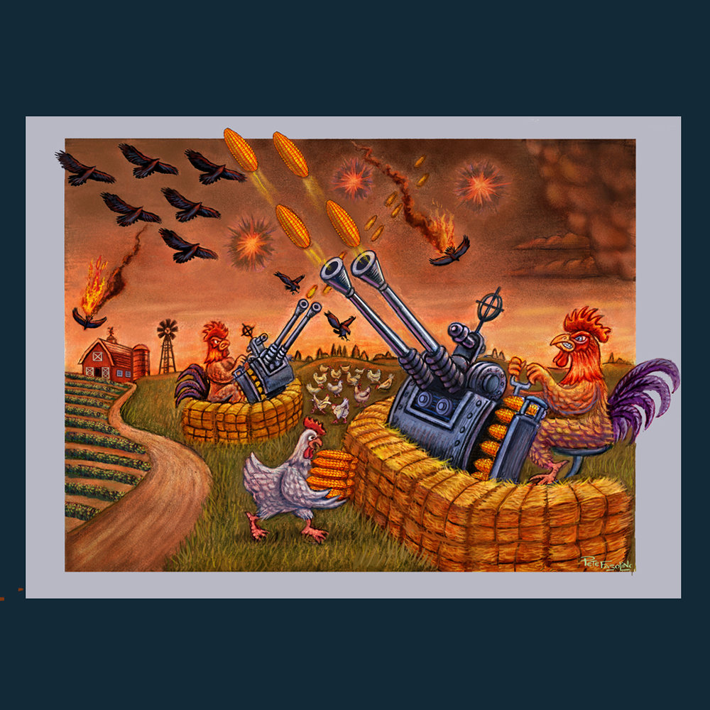 This artwork was used for packaging of a product protecting free range chickens from Hawk attacks. GET YOUR HAWK STOPPER VISUAL DEFLECTION NET today!! As good a deterrent as if your Rooster was equipped with anti-aircraft artillery.
