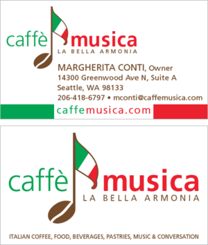 Logo business cards for caffe musica isabel bay design reheart Image collections